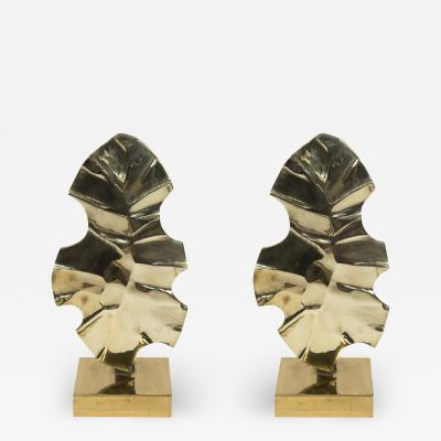 Willy Daro Pair of Sculptural polished bronze lamps by Willy DAro
