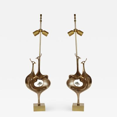 Willy Daro Pair of peacock table lamps