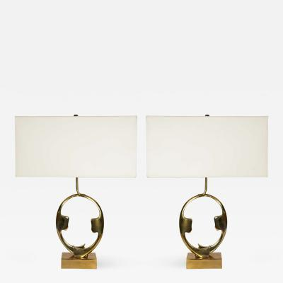 Willy Daro Pair of sculptural bronze lamps by Willy Daro