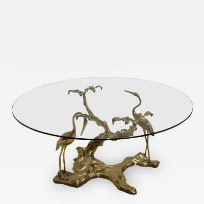 Willy Daro Willy Daro 1970s French Sculptural Brass and Glass Coffee Table