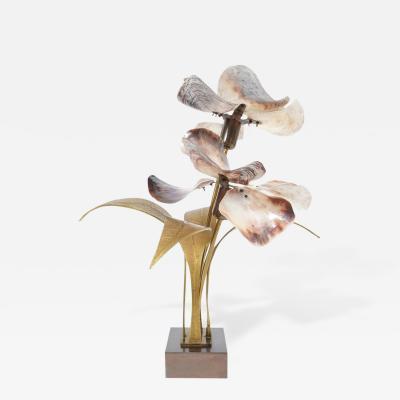 Willy Daro Willy Daro Bronze And Brass Capiz Shell Lamp