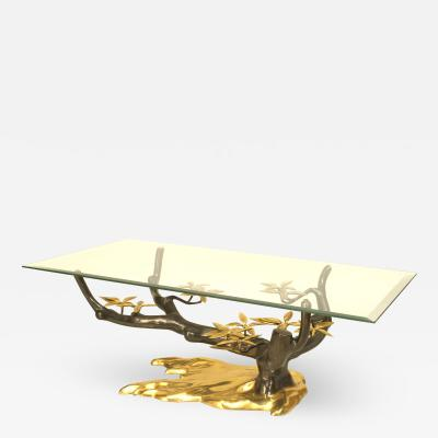 Willy Daro Willy Daro Rectangular Glass and Bronze Tree Coffee Table