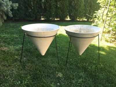 Willy Guhl Pair of Rare Willy Guhl Conical Planters in Modern Steel Stands