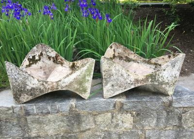 Willy Guhl Pair of Rare Willy Guhl Three Sided Free Form Planters