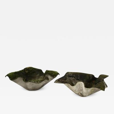Willy Guhl Pair of Willy Guhl Elephant ear planters with original patina