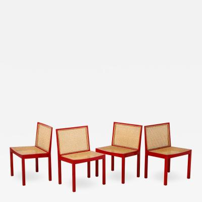 Willy Guhl Set of Four Red Lacquered Bankshuhl Chairs by Willy Guhl for Stendig