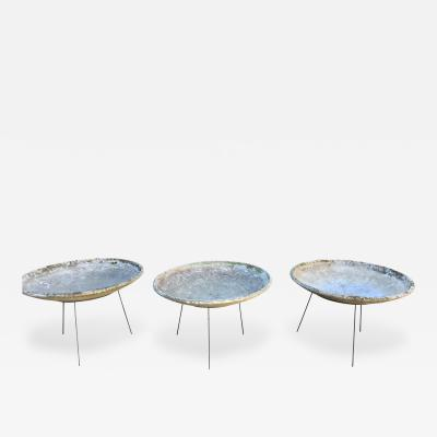 Willy Guhl Set of Three Large Willy Guhl Saucer Planters in Modern Stands