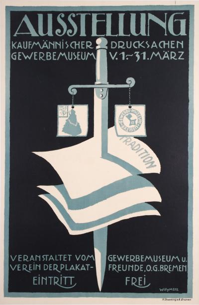 Willy Menz German Printworks Exhibition Poster by Willy Menz 1914
