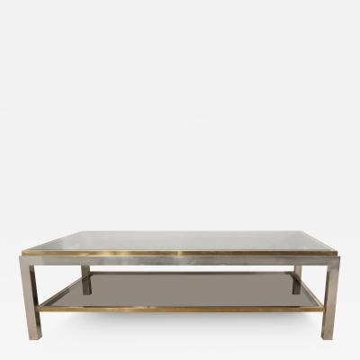 Willy Rizzo A Willy Rizzo Chrome Brass and Smoked Glass Coffee Table