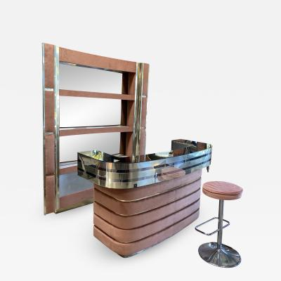 Willy Rizzo Attribute to Willy Rizzo Flat Dry Bar in Chrome and Brass Italy 1970s