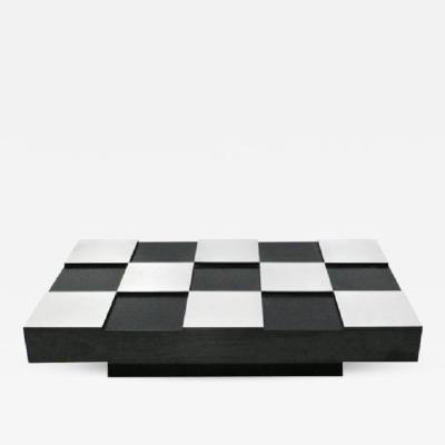 Willy Rizzo COFFEE TABLE CHECKERED DESIGNED BY WILLY RIZZO ITALY 1970s