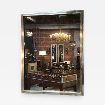 Willy Rizzo Italian Brass and Chrome Wall Mirror attribuited to Willy Rizzo 1970s