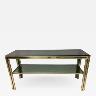 Willy Rizzo Italian Mid Century Modern Brass and Chrome Console Sofa Table by Willy Rizzo