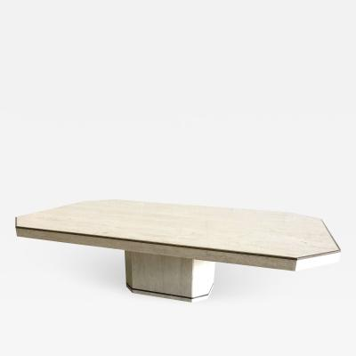 Willy Rizzo Italian Modern Travertine Marble Coffee Table for Jean Charles Willy Rizzo