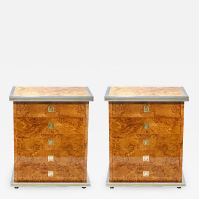 Willy Rizzo Italian Pair of Willy Rizzo burl brass and chrome chest of drawers 1970s