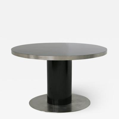 Willy Rizzo Italian Pedestal round table by Willy Rizzo in steel and wood black 1970s
