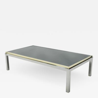 Willy Rizzo Large brass and chrome Coffee Table Willy Rizzo model Flaminia 1970s