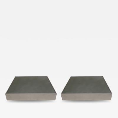 Willy Rizzo Pair of Italian Mid Century Modern Side Tables by Willy Rizzo for Cidue 1970