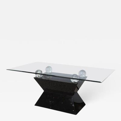 Willy Rizzo Rectangular Dining Table Black Laminate Lucite and Glass in Willy Rizzo Manner