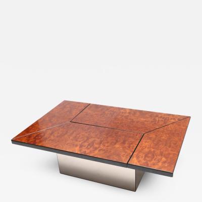 Willy Rizzo Rizzo Burl Bar Coffee Table