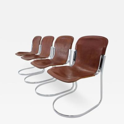 Willy Rizzo Set Of Four Italian Leather Dining Chairs By Willy Rizzo For Cidue 1970s