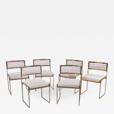 Willy Rizzo Set of 6 Dining Chairs in Brass Gold and Chrome by Willy Rizzo