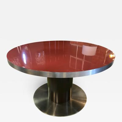 Willy Rizzo Stainless Steel and Red Top Round Dining Table by Willy Rizzo Italy 1970s