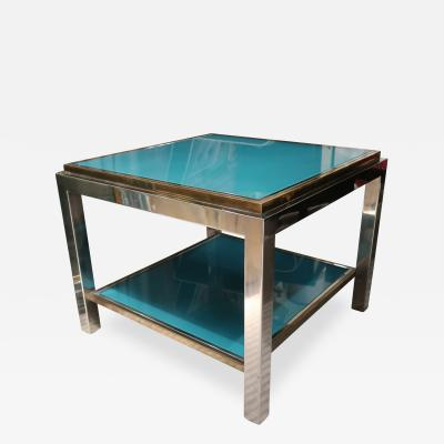 Willy Rizzo Willy Rizzo Brass chromed and glass coffee table Italy 70