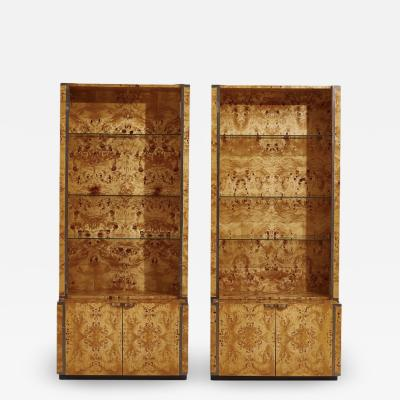 Willy Rizzo Willy Rizzo Burlwood Bookcases France 1970
