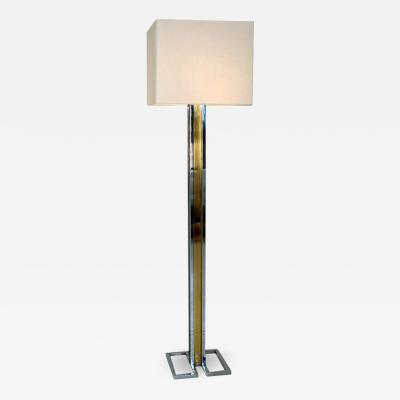 Willy Rizzo Willy Rizzo Chrome and Brass Floor Lamp on Geometric Base