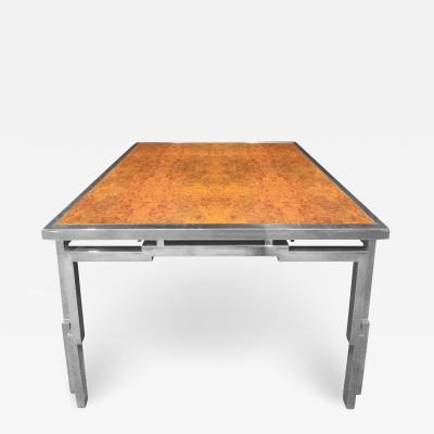Willy Rizzo Willy Rizzo Dining Table in Chrome and Burl Wood 1970s