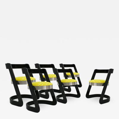 Willy Rizzo Willy Rizzo Set of Six Black Lacquered Wood and Yellow Velvet Italian Chairs