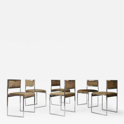 Willy Rizzo Willy Rizzo Set of six MidCentury chair in brass and chamois 1960s