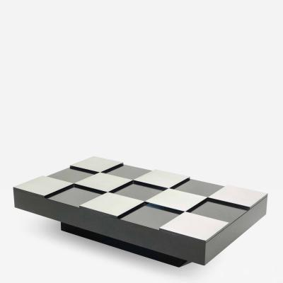 Willy Rizzo Willy Rizzo black lacquer and brushed steel coffee table 1970s