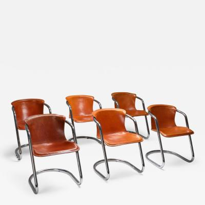 Willy Rizzo Willy Rizzo tan leather chairs for Cidue 1970s