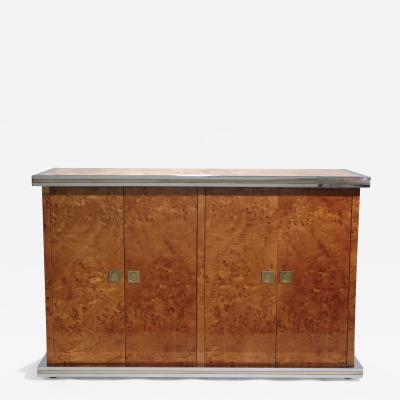 Willy Rizzo Willy rizzo burl chrome and brass small credenza 1970s