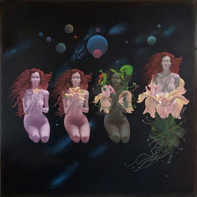 Wilson McLean Celestial Metamorphosis Sci Fi Woman becomes a flower in outer space