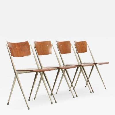 Wim Rietveld Set of Four Pyramide Chairs by Wim Rietveld for De Cirkel