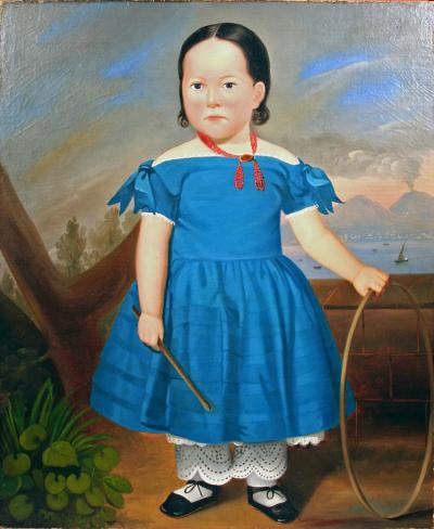 Full Length Portrait of a Young Girl Wearing a Blue Dress Holding a Hoop
