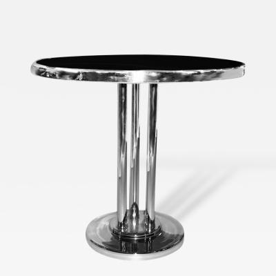 Wolfgang Hoffmann Streamline Circular Chrome Side Table by Wolfgang Hoffmann for Howell