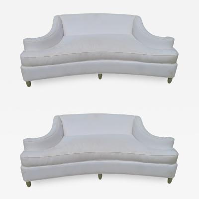 Wonderful Pair Exaggerated Scroll Arm Loveseat Sofas Hollywood Regency