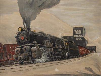 Wonderful train painting Signed by the artist WALLACE