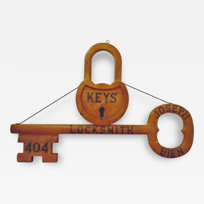 Wood Carved Key and Lock Trade Sign