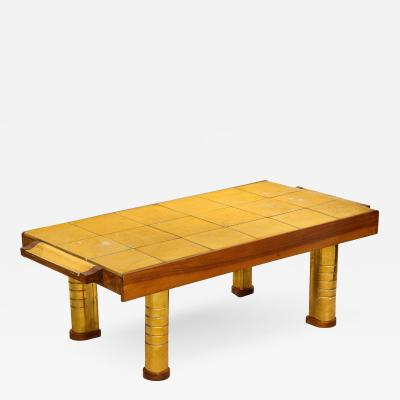Wood and Bronze Low Table with Tile Top by Jean Nayadon French c 1940
