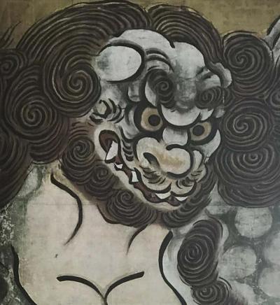 Woodblock of Karashishi by Kano Eitoku