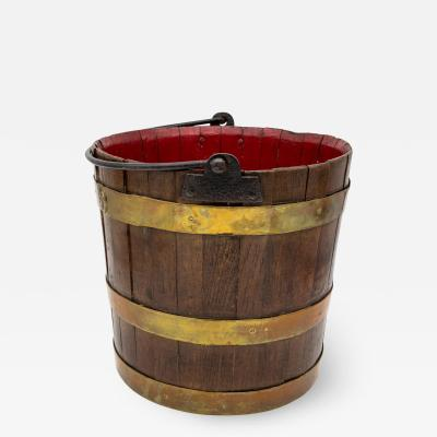 Wooden Bucket with Red Interior and Brass accents