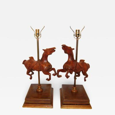 Wooden Carousel Horses Table Lamps