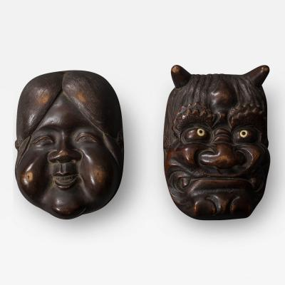 Wooden Carved Box of Otafuku and Oni Good and Evil