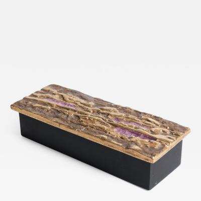 Wooden box with ceramic lid by Fran ois Lembo Vallauris
