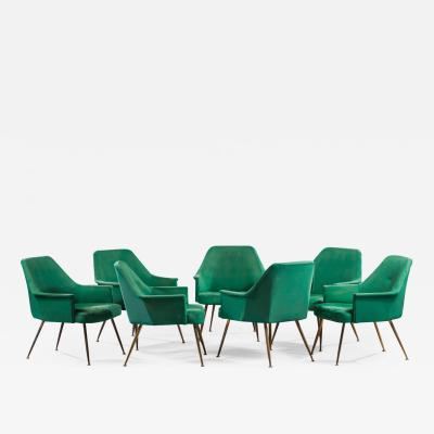 Work from the 60s Suite of seven armchairs